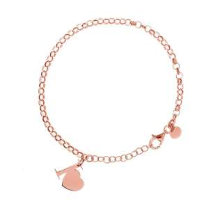Bracciale maglia rollò con pendente laterale I Love realizzato in argento 925 rosato,misura bracciale cm.21 pendente cm.1,40 per cm 1,20.