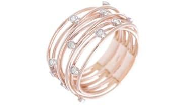 Anello fascia fili oro rosa e brillanti