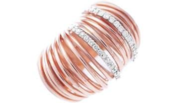 Anello fascia oro rosa con inserti  laterali in brillanti