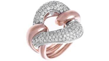 Anello groumette in oro rosa, bianco e brillanti