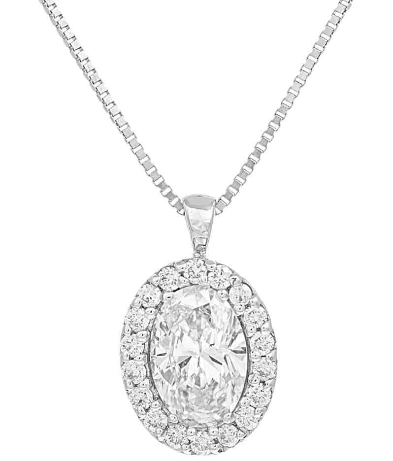 Girocollo in oro bianco con diamante ovale