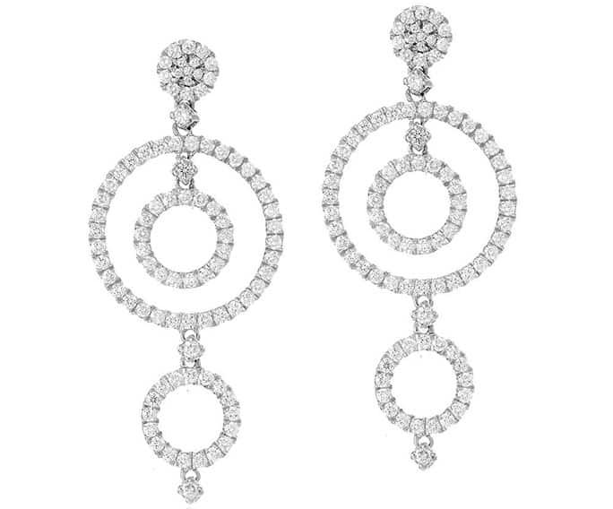 Orecchini cerchi concentrici in diamanti
