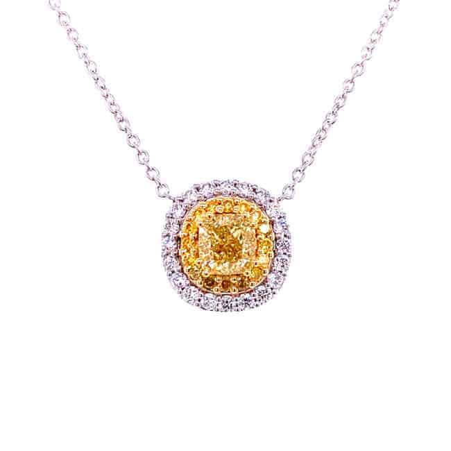 Pendente con diamanti fancy color yellow